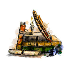 Stack books scroll pen and candle vector