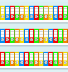 stack of color ring binders on white shelves vector image
