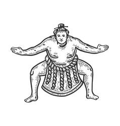 Sumo wrestler sketch vector