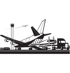 Truck carrying wind turbine fin to cargo plane vector