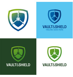 Vault and shield logo icon vector