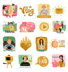 Video bloggers icons set vector