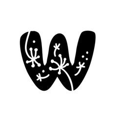 Vintage floral bold letter w logo spring classic vector