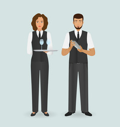 waitress in uniform and barman standing together vector image