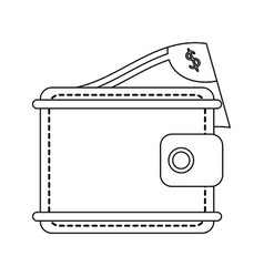 wallet with money symbol black and white vector image
