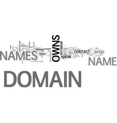 Who owns domain names text word cloud concept vector