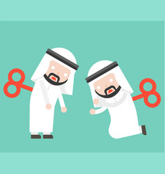 Wind up arab businessman or manager ready to use vector