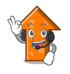 with headphone arrow mascot cartoon style vector image