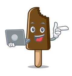 With laptop chocolate ice cream character cartoon vector