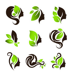 Woman natural beauty hair spa salon logo design vector