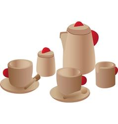 Wooden play tea set vector image