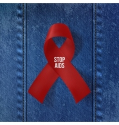 World AIDS Day Symbol Realistic red Ribbon vector