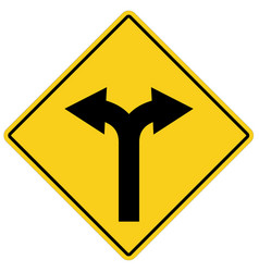 Yellow sign with two arrows fork road yellow vector