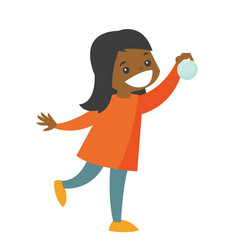 young african-american girl holding christmas ball vector image