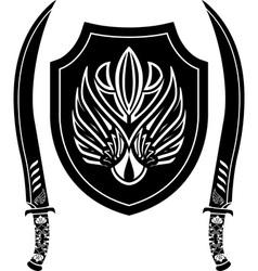 fantasy arabian shield and swords vector image vector image