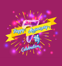 happy 7th anniversary glass bulb numbers set vector image