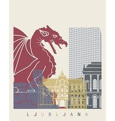 Ljubljana skyline poster vector image vector image