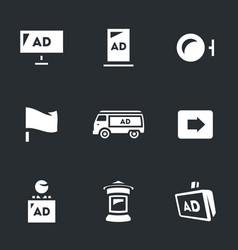 Set of advertising icons carriers and vector