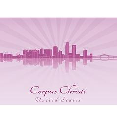 Corpus Christi skyline in purple radiant orchid vector image vector image