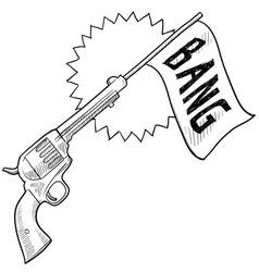 Doodle gun bang comedy vector