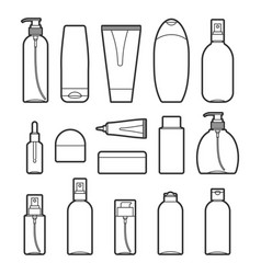 set of cosmetic bottles line style icons vector image