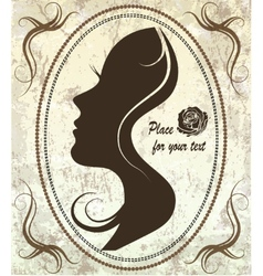 silhouette of a womans face on a retro background vector image