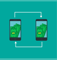 Smartphone screen with money internet banking vector