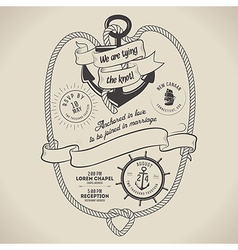Vintage nautical themed wedding invitation vector image vector image