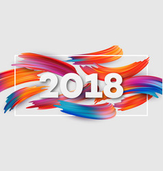 2018 new year on the background of a colorful vector image