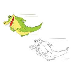 cute alligator cartoon character vector image