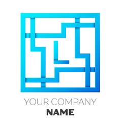 realistic letter l logo in colorful square maze vector image vector image