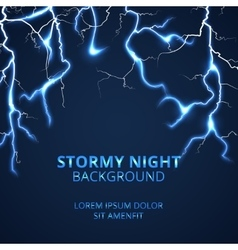 Stormy night with striking lightnings background vector image vector image