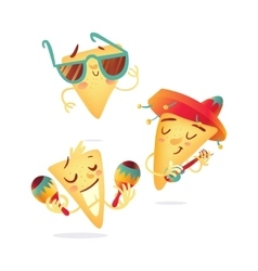 Three happy nachos characters playing Mexican vector image
