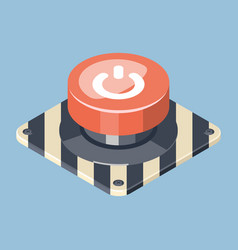 3d emergency start stop red button vector image vector image