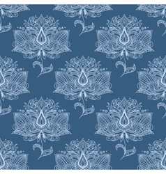 Blue paisley flowers seamless pattern vector image vector image