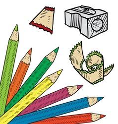 doodle colored pencil sharpen vector image vector image