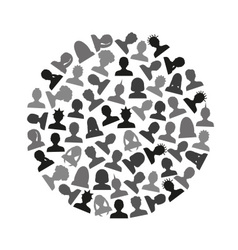 Men and women head simple avatar icons in circle vector