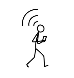 a man walking with a phone connecting wi-fi vector image