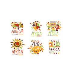 africa logo and label original design set vector image