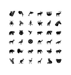 Animals black glyph icons set on white space vector