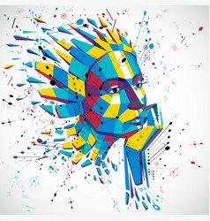 Artificial intelligence head low poly style 3d vector