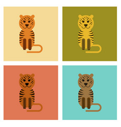 Assembly flat icons nature cartoon tiger vector