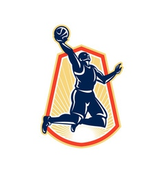Basketball Player Dunk Rebound Ball Retro vector