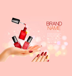 beauty flyer with nail polish bottles and vector image