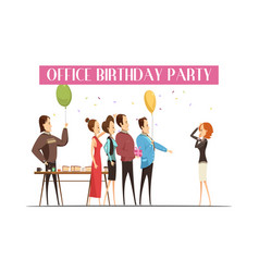 Birthday party in office vector