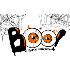 boo happy halloween banner background lettering vector image