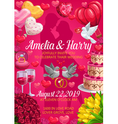 bride and groom names wedding holiday invitation vector image