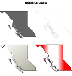 British columbia blank outline map set vector