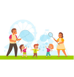 bubbles show cute happy children and adults vector image