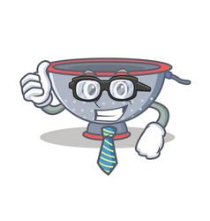 Businessman colander utensil character cartoon vector